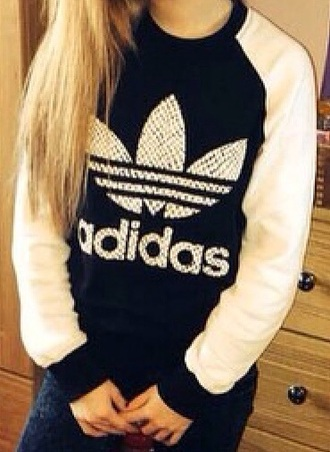 sweater black sweater white sweater adidas sweater adidas sweatshirt jacket