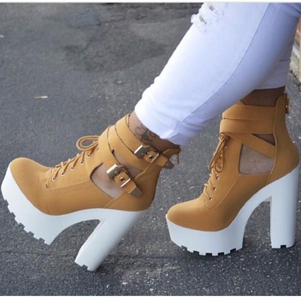 shoes camel white heels wedges platform boots