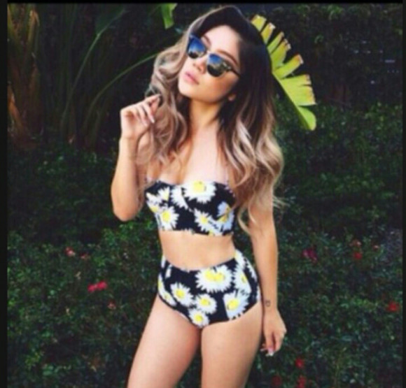 swimwear black strapless bikini white sunglasses yellow twopiece two-piece high waisted bikini daisy bright vibrant ombre bleach dye need it in my life please find it india westbrooks