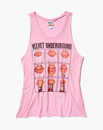 tank top junk food velvet underground nico pink lips