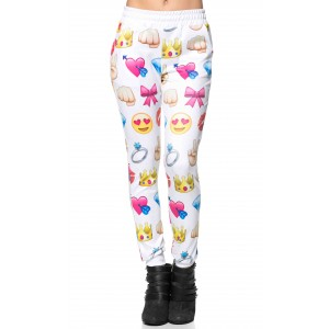 Emoji fun jogger pants in white (plus sizes available)