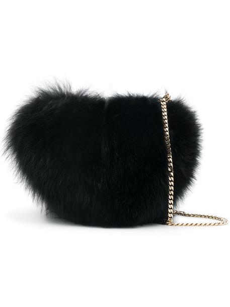 heart fur fox women love bag crossbody bag black