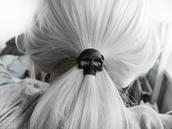 elastic,hair,black,skull,head jewels,jewelry,beautiful,ponytail,grey hair,halloween accessory