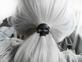 elastic hair black skull head jewels jewelry beautiful ponytail grey hair halloween accessory