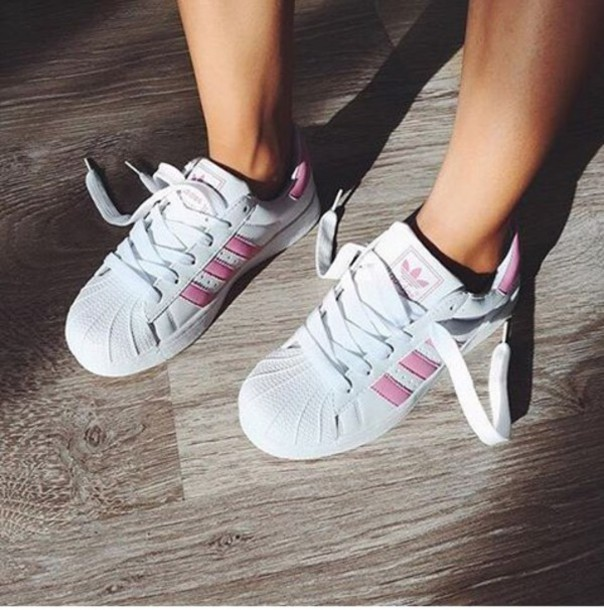 shoes girl girly girly wishlist adidas adidas shoes adidas superstars adidas  originals pink white tumblr