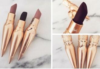 make-up lipstick cute gold dark lipstick
