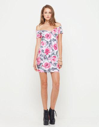 dress motel danielle off shoulder mini dress in pink flower buzz print off the shoulder dress mini dress floral dress pink flowers