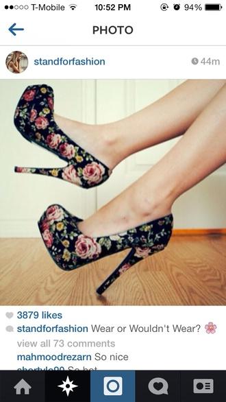 shoes floral high heels high heels
