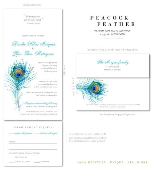 Send n Sealed Invitations on 100% Recycled Paper ~ Peacock Feather by ForeverFiances Weddings