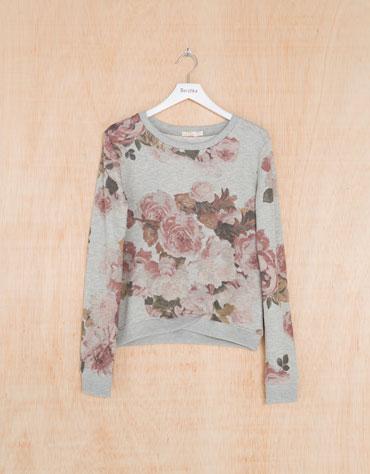 Bershka Deutschland - Sweatshirt BSK Blumenmuster