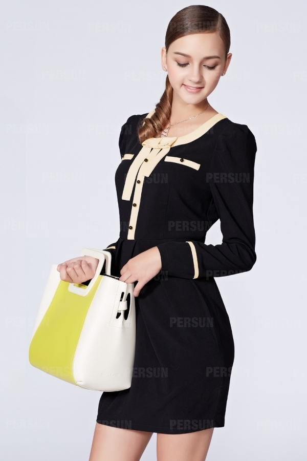 OSA Slim Dress with Color Block Bowknot [FOSA0002] - PersunMall.com