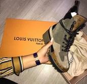 shoes,louis vuitton,combat boots,suede boots,suede,forest green,boots,lv boots,black combat boots