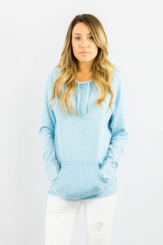 sweater blue light blue fashion style long sleeves jumper hoodie trendy freevibrationz free vibrationz