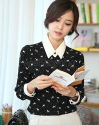 Online shop q409 women ladies long sleeve dog print patchwork button down autumn blouse tops vintage shirts formal black beige free shipping