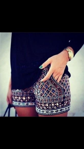 shorts sparkle beaded shorts