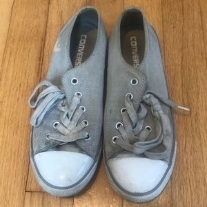 Converse Shoes | Converse Dainty Ox Dolphin Grey Stitched Pattern | Poshmark