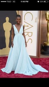 dress,lupita nyong'o,light blue,plunge neckline,oscars,prom,chiffon,blue,prom dress