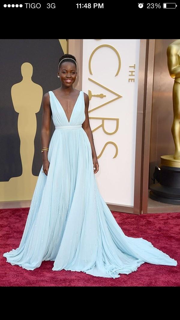 dress lupita nyong'o light blue plunge neckline oscars prom chiffon blue prom dress
