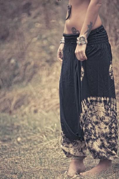Pants Boho Chic Boho Bohemian Black And White Dress