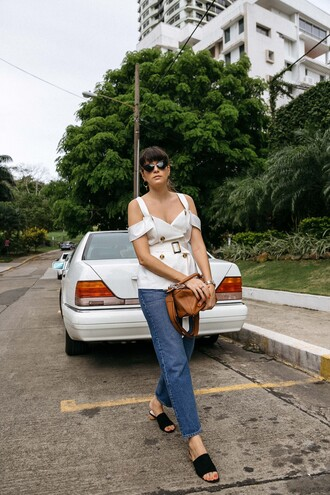 top tumblr white top denim jeans blue jeans shoes black shoes mules bag brown bag sunglasses