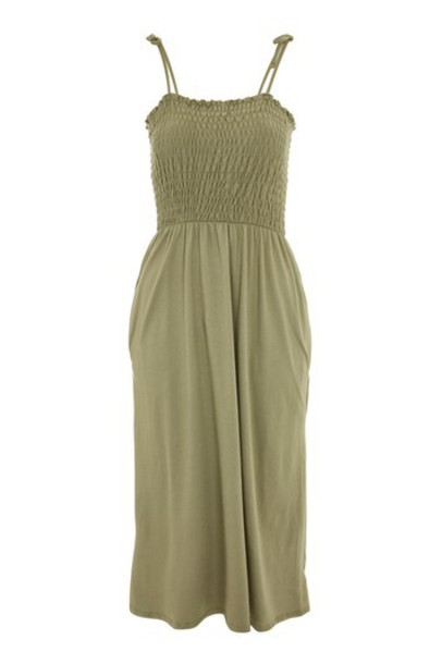 Topshop dress bardot dress khaki