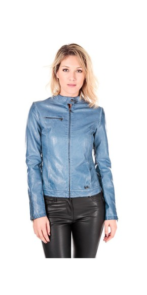 cuir jacket blouson blue simili cuir faded