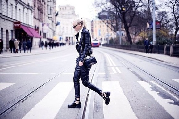 shoes combat boots black chunky boots ankle boots style cara delevingne leather jacket