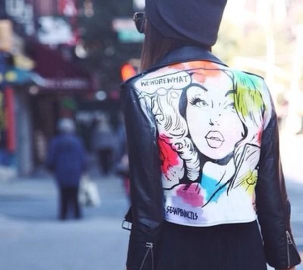 jacket black white colorful