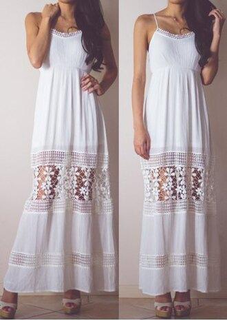 dress maxi dress lace white fashion style summer long dress flowy girly