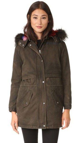 Rebecca Minkoff Theo Coat - Army Green/Multi