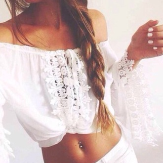 shirt lace lace shirt top crochet crop tops hippie boho bohemian gypsy instagram summer hippy white shirt off the shoulder lace top