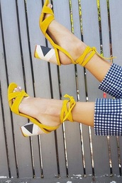 shoes,yellow heels,suede