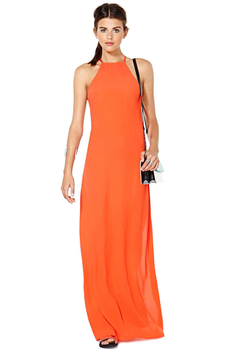 2015 Summer Maxi Dresses Women Long Strap Orange Deep O neck ...