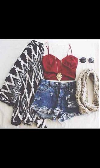 shirt scarf shorts bag jewels coat cardigan tank top top red crop top