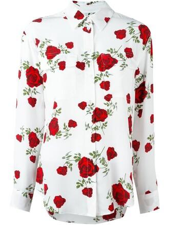 shirt rose print top