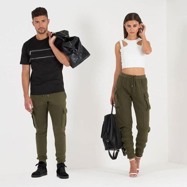 Pants: khaki, rib, buckles, track, utility, pockets, green, olive ...