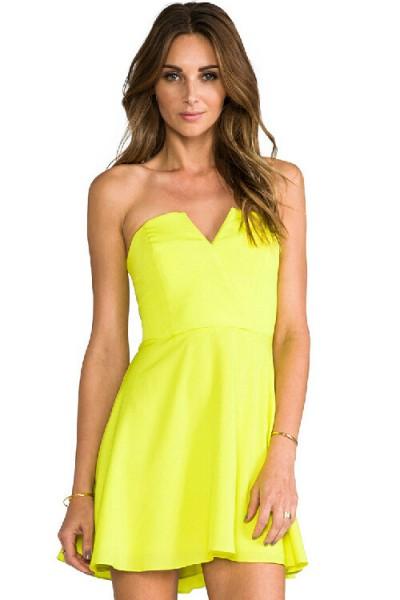 KCLOTH Sweet Heart Party Dress in Ruffle Detailed (NEON GREEN / PEACH)