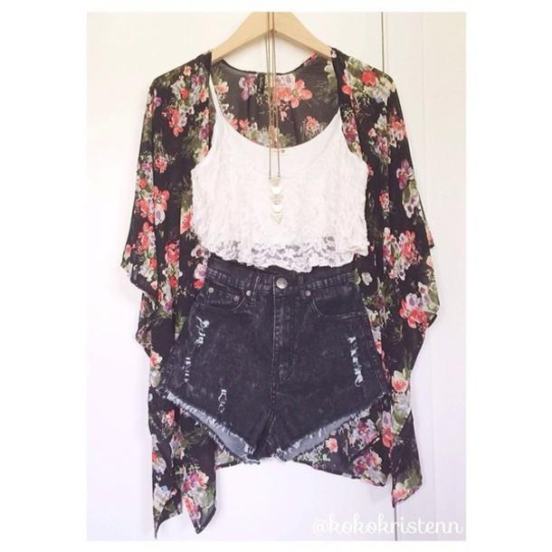 cardigan kimono floral kimono cute shorts blouse