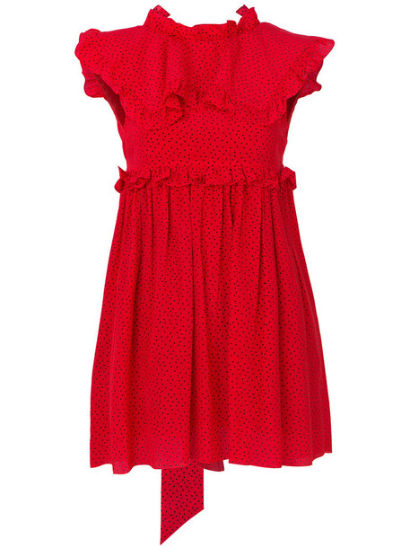 Balenciaga dress women baby silk red