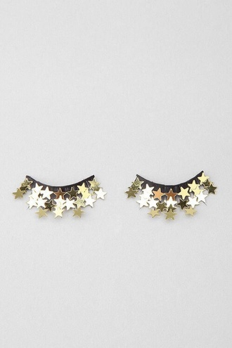 make-up fake lashes with gold stars stars stylish style trendy accessories hair/makeup inspo jewels pastel sparkle christmas holiday gift new year's eve