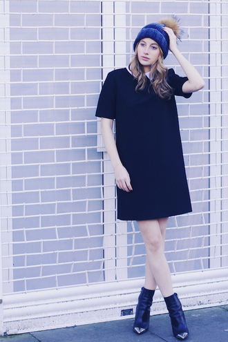 at fashion forte blogger black boots pom pom beanie shift dress collared dress