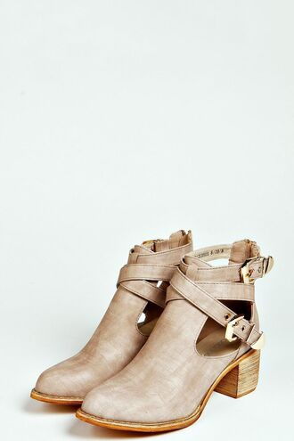 shoes booties cutout belted taupe