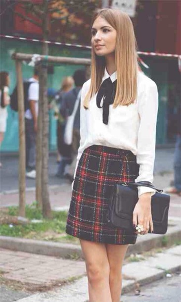 skirt navy check tartan smart formal occasion classy red shirt black bow leather purse flowers ring back to school blouse