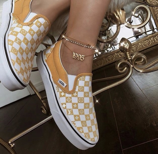 21a3fb2b76 shoes tan louis vuitton vans jewels gold anklet ankle bracelet bracelets  jewelry luis vuitton sneakers