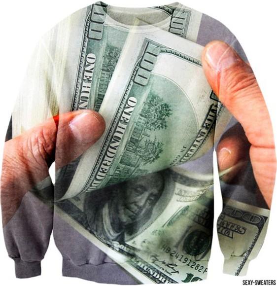pullover money print
