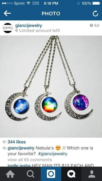 jewels moon necklace moon galaxy print galaxy moon