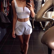top,slacks,High waisted shorts,cotton shorts,white,shorts,shirt,on point clothing,crop tops,style,fashion,pants,romper,white dress,white crop tops,white t-shirt,white top,white skirt,v neck dress,clothes,summer top,summer outfits,summer,tumblr outfit,outfit,short,jumpsuit,set,tumblr,white 2 piece crop top shorts  set,bottoms,two-piece,matching set,blouse,two piece dress set