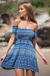 dress,blue,aztec,tribal pattern,off the shoulder