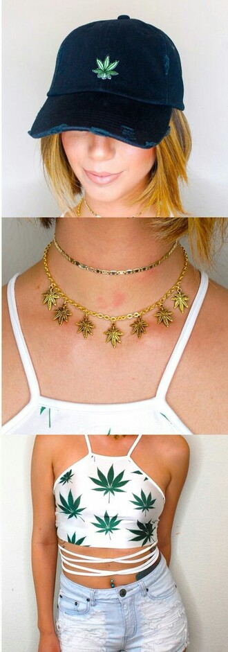 jewels gold weed marijuana necklace accessories jewelry