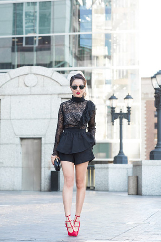 wendy's lookbook blogger top shorts shoes bag sunglasses red shoes black top black lace long sleeves black shorts blouse red heels clutch ruffled top